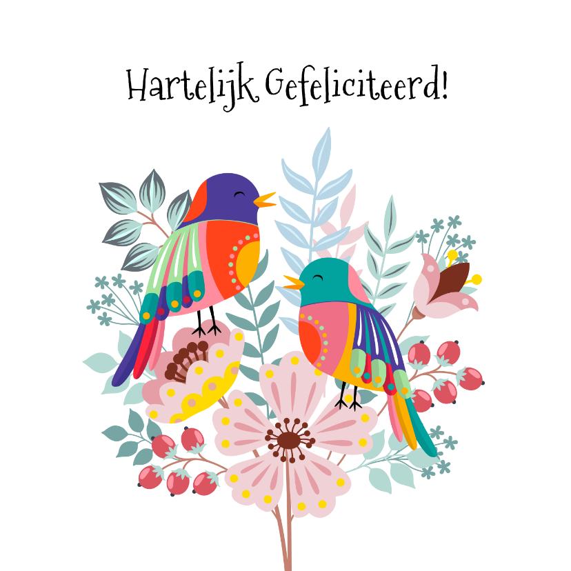 Verjaardagskaarten - Vrolijke en kleurrijke verjaardagskaart met bloemen en vogel