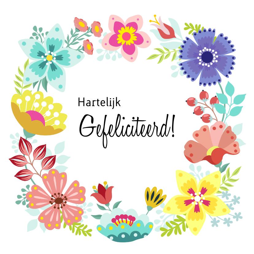 Verjaardagskaarten - Vrolijke en kleurrijke verjaardagskaart met bloemenkrans