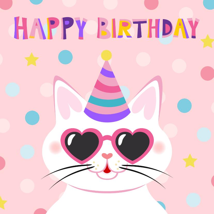 Verjaardagskaarten - Vrolijke en kleurrijke verjaardagskaart met kat met bril