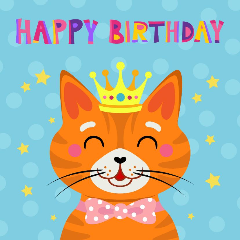 Verjaardagskaarten - Vrolijke en kleurrijke verjaardagskaart met kat met kroon