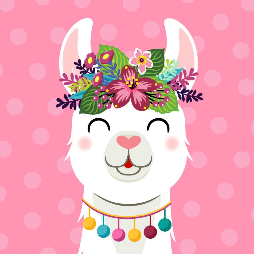 Verjaardagskaarten - Vrolijke en kleurrijke verjaardagskaart met lama en bloemen