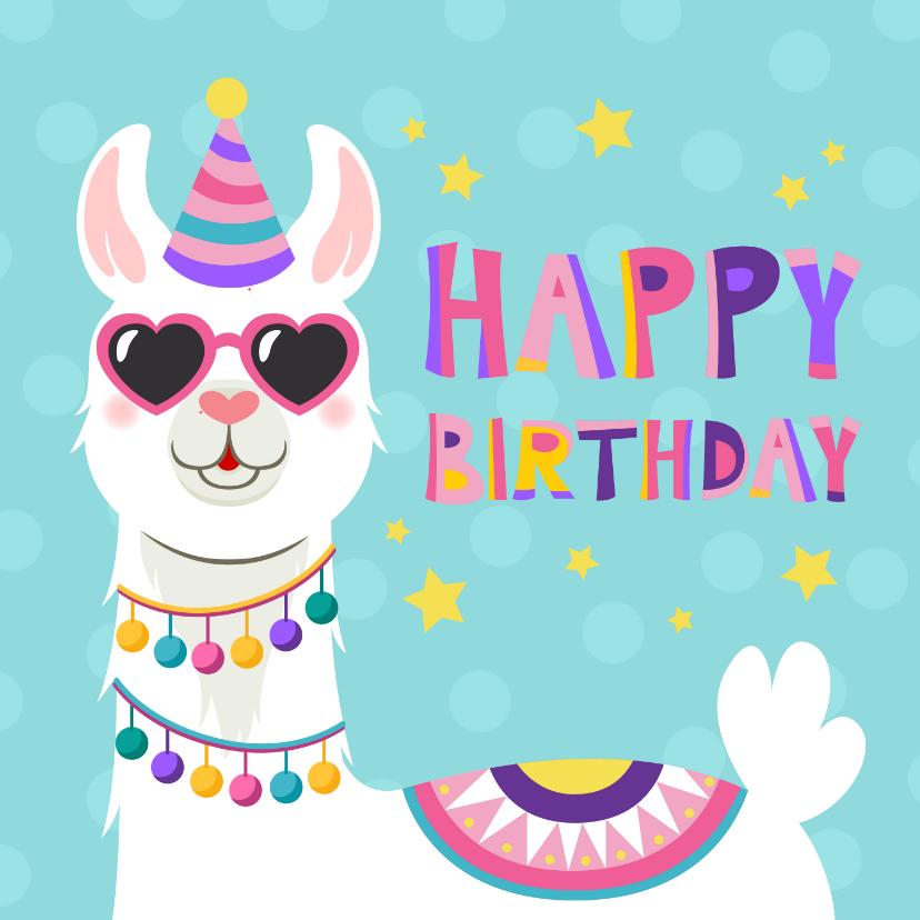 Verjaardagskaarten - Vrolijke en kleurrijke verjaardagskaart met lama met bril