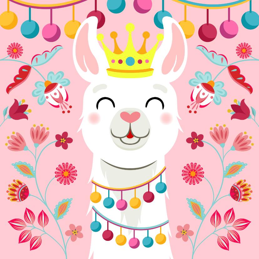 Verjaardagskaarten - Vrolijke en kleurrijke verjaardagskaart met lama met kroon