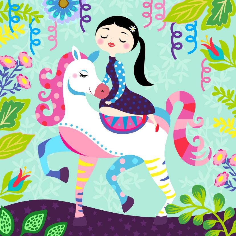 Verjaardagskaarten - Vrolijke en kleurrijke verjaardagskaart met meisje op paard