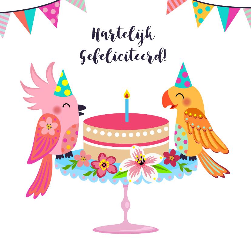 Verjaardagskaarten - Vrolijke en kleurrijke verjaardagskaart met vogels en taart