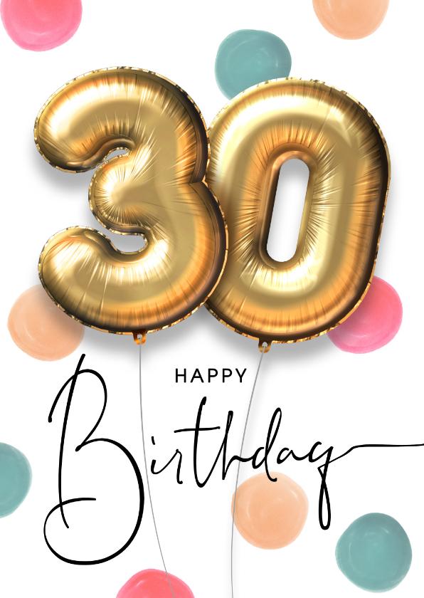 Verjaardagskaarten - Vrolijke felicitatie verjaardagskaart ballon 30 jaar