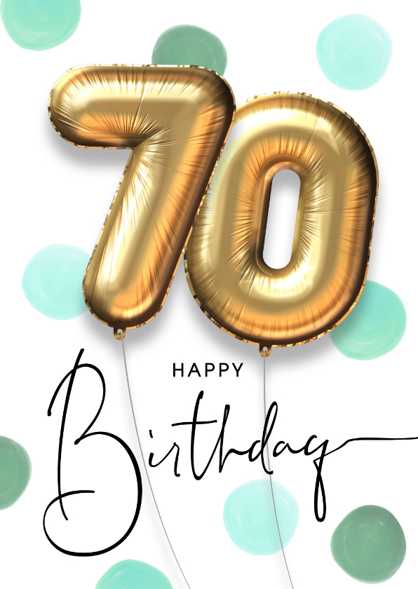 Verjaardagskaarten - Vrolijke felicitatie verjaardagskaart ballon 70 jaar