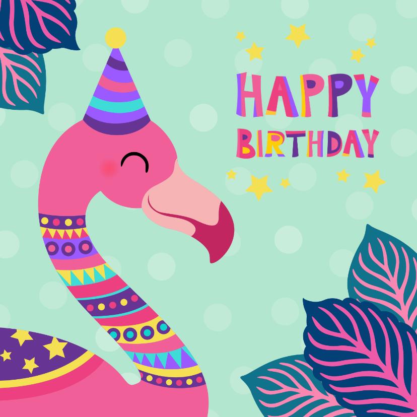Verjaardagskaarten - Vrolijke felicitatiekaart met kleurrijke flamingo