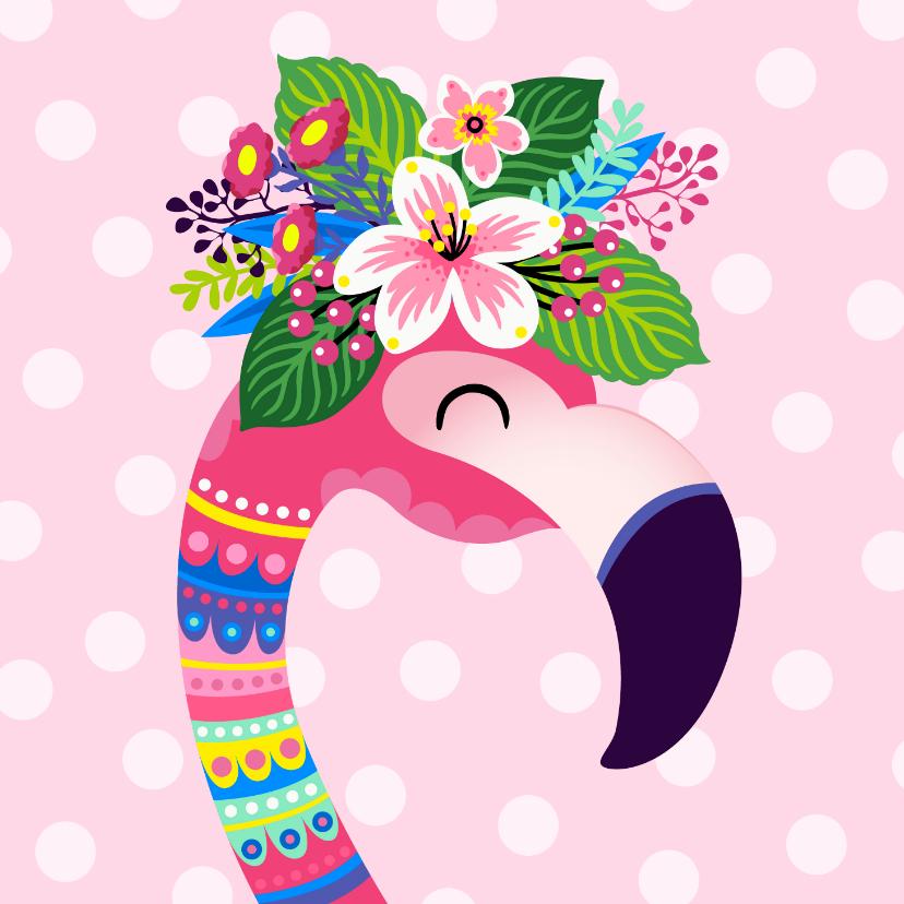 Verjaardagskaarten - Vrolijke flamingo en bloemen verjaardagskaart