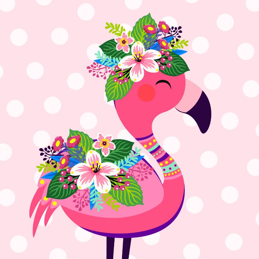 Verjaardagskaarten - Vrolijke flamingo verjaardagskaart en bloemen