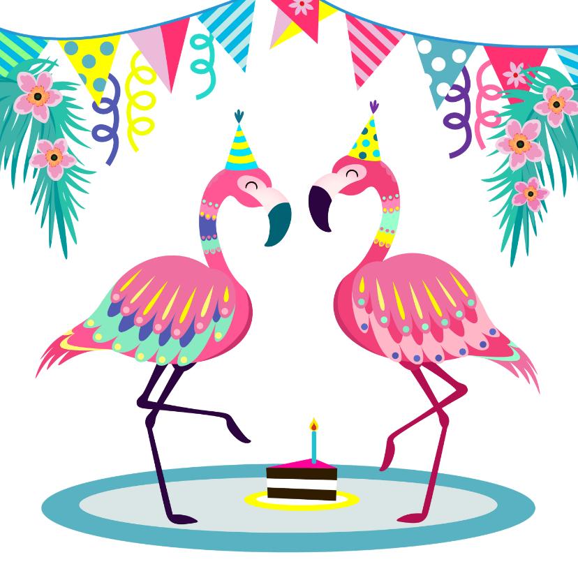 Verjaardagskaarten - Vrolijke flamingo's verjaardagskaart met slingers