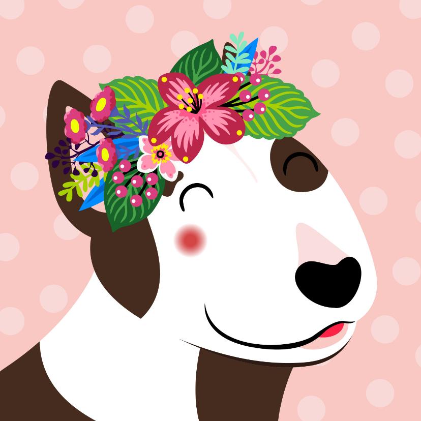 Verjaardagskaarten - Vrolijke hond met bloemen verjaardagskaart