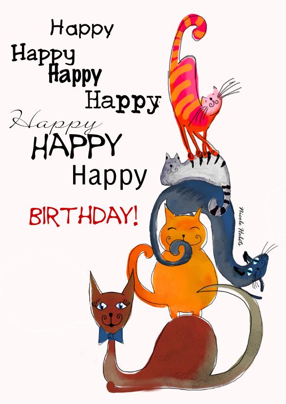 Verjaardagskaarten - Vrolijke katten verjaardagskaart happy