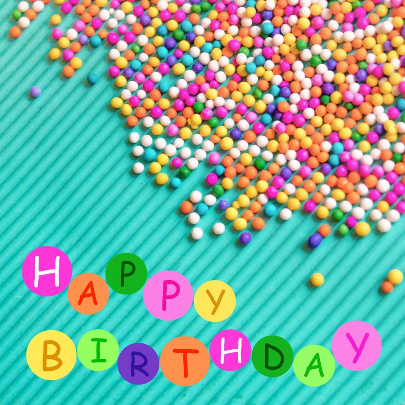 Verjaardagskaarten - Vrolijke kleurrijke verjaardagskaart met gekleurde snoepjes