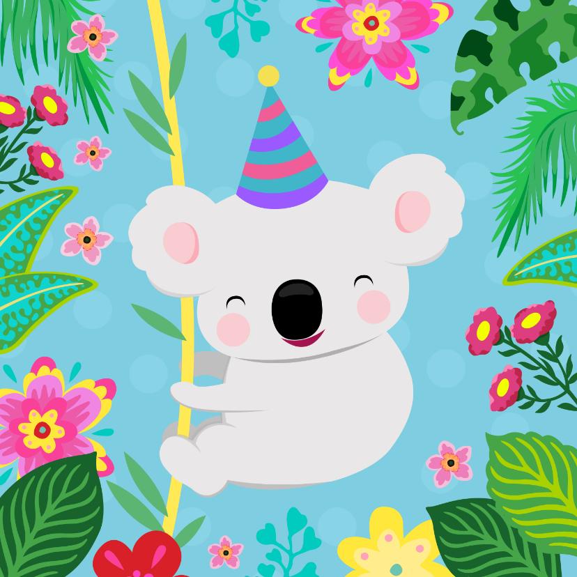 Verjaardagskaarten - Vrolijke koala en planten kleurrijke verjaardagskaart