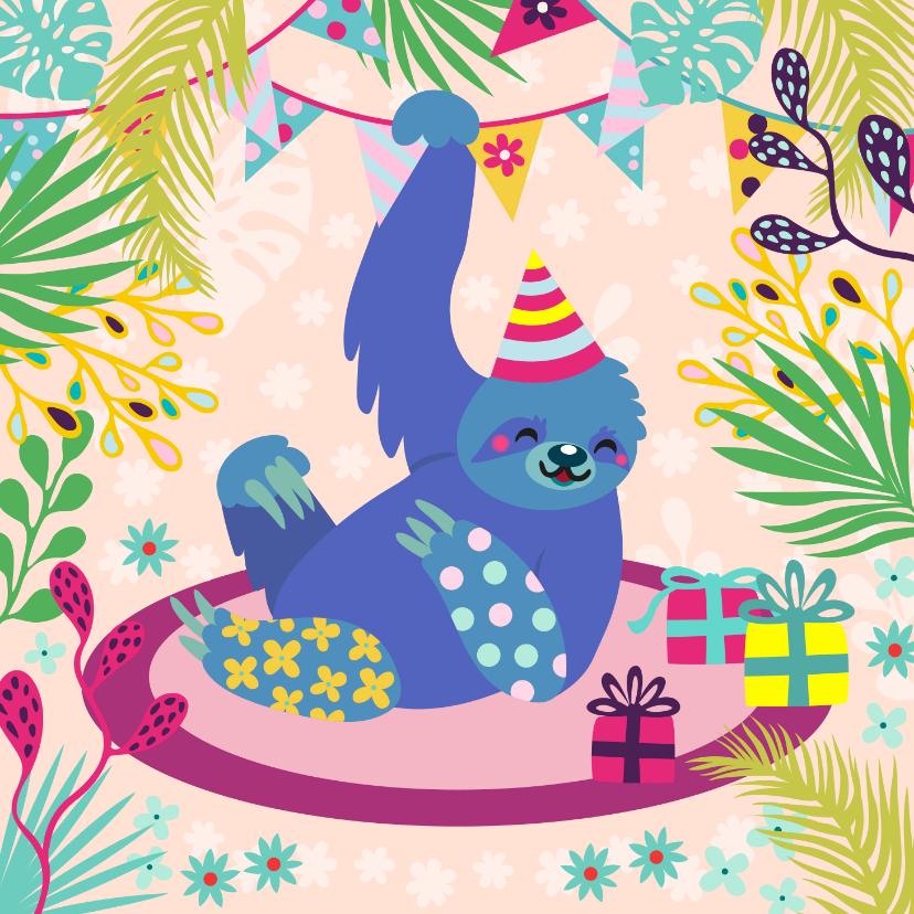 Verjaardagskaarten - Vrolijke lieve luiaard verjaardagskaart