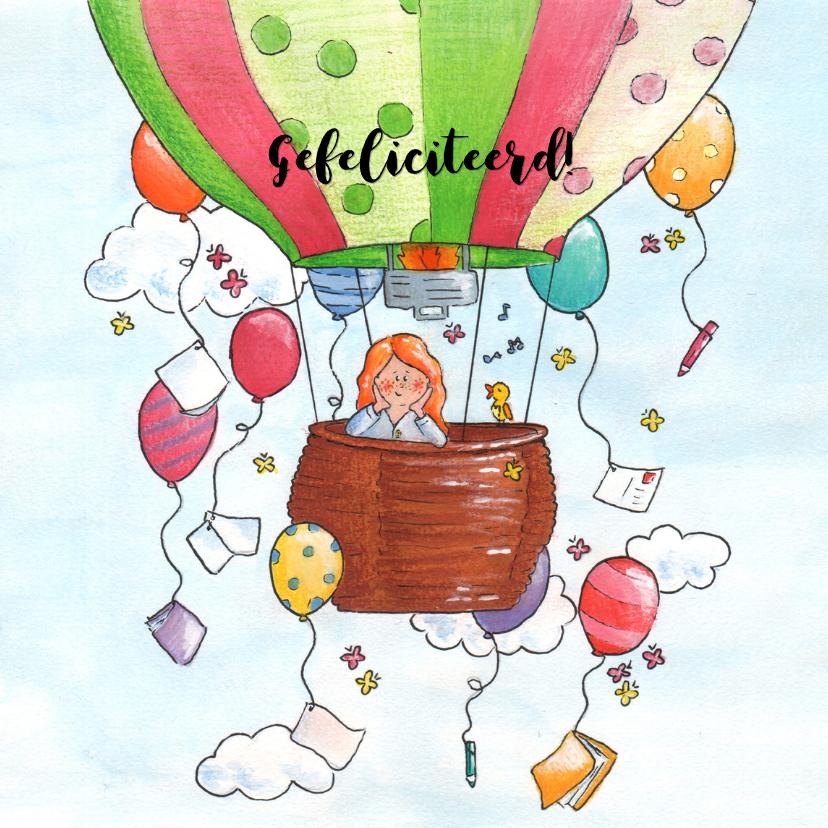 Verjaardagskaarten - Vrolijke luchtballon met ballon