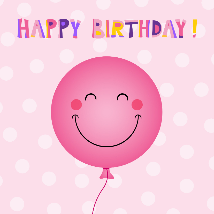 Verjaardagskaarten - Vrolijke roze ballon verjaardagskaart