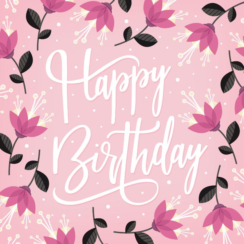 Verjaardagskaarten - Vrolijke roze verjaardagskaart met hippe bloemen