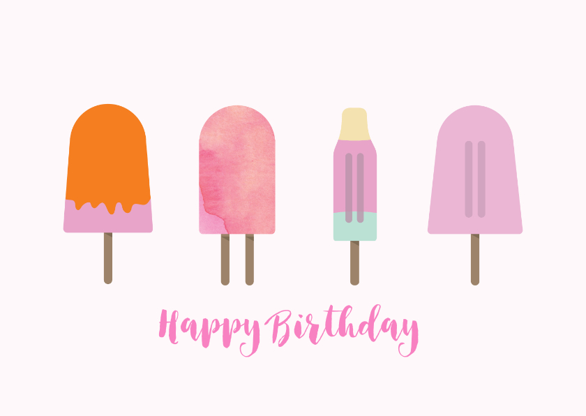 Verjaardagskaarten - Vrolijke trendy zomerse verjaardagskaart met ijsjes.