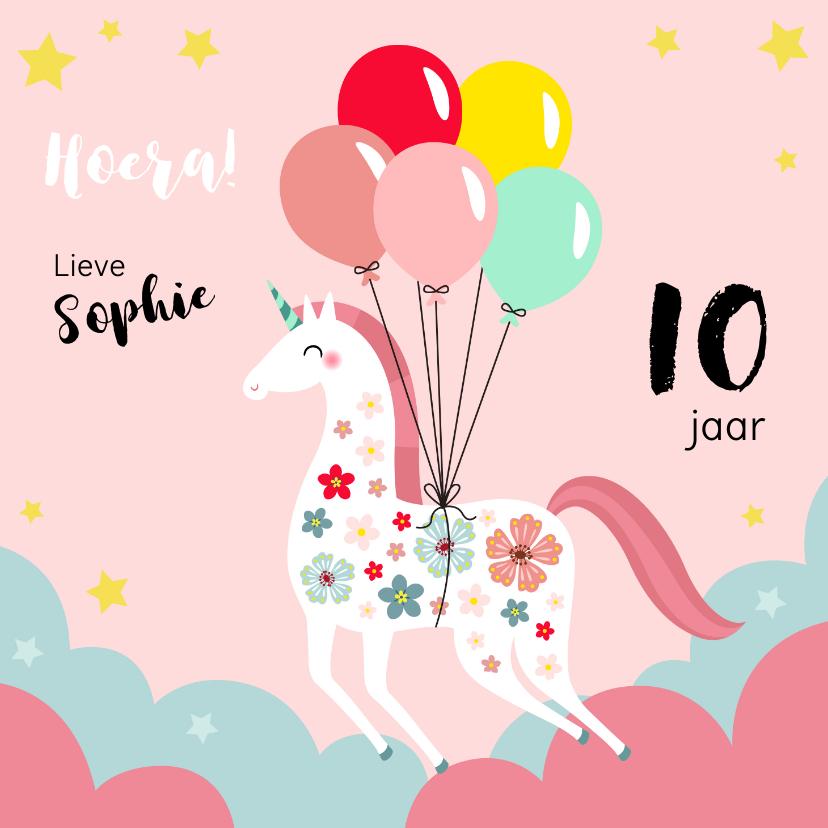 Verjaardagskaarten - Vrolijke unicorn verjaardagskaart met ballonnen