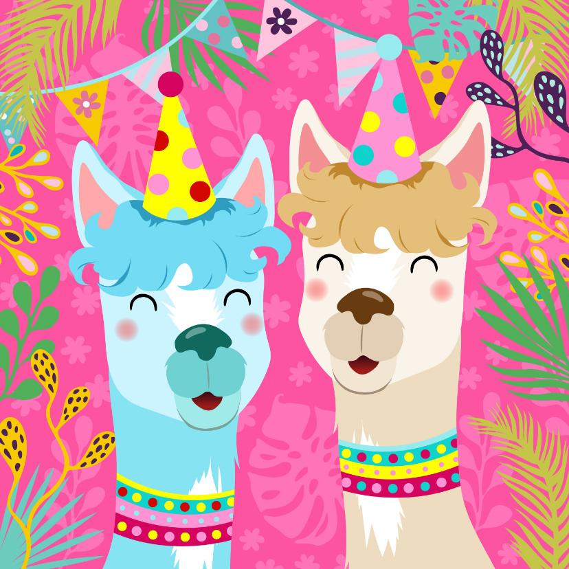 Verjaardagskaarten - Vrolijke verjaardagskaart met alpaca's, slingers en bloemen