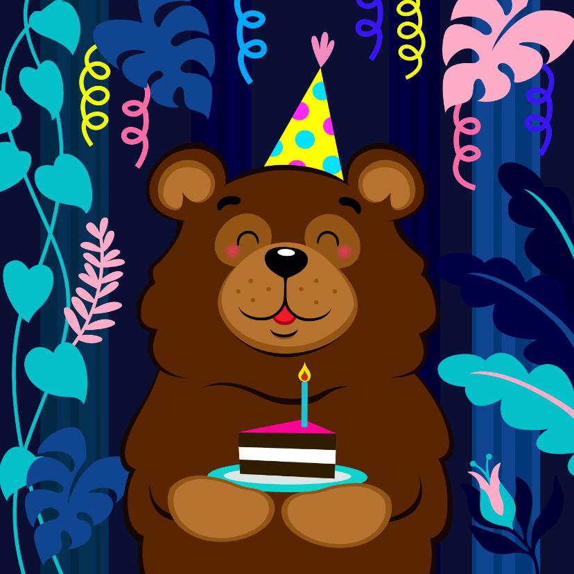 Verjaardagskaarten - Vrolijke verjaardagskaart met beer met taart