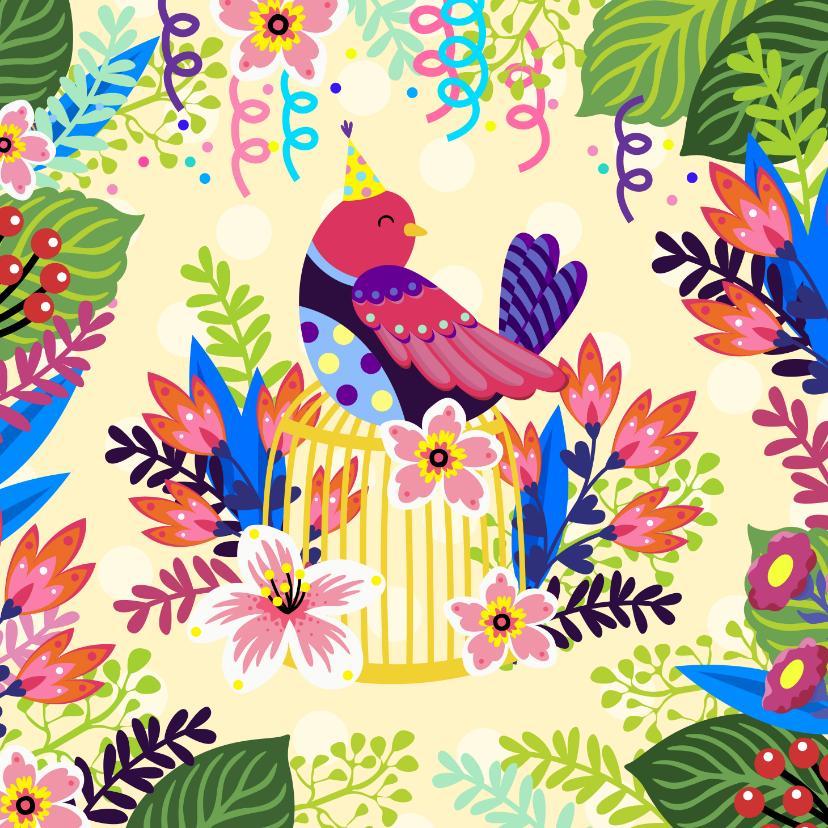 Verjaardagskaarten - Vrolijke verjaardagskaart met bloemen en vogel op kooi