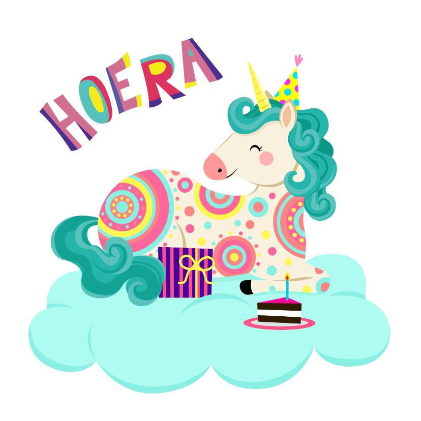 Verjaardagskaarten - Vrolijke verjaardagskaart met een unicorn op een wolk