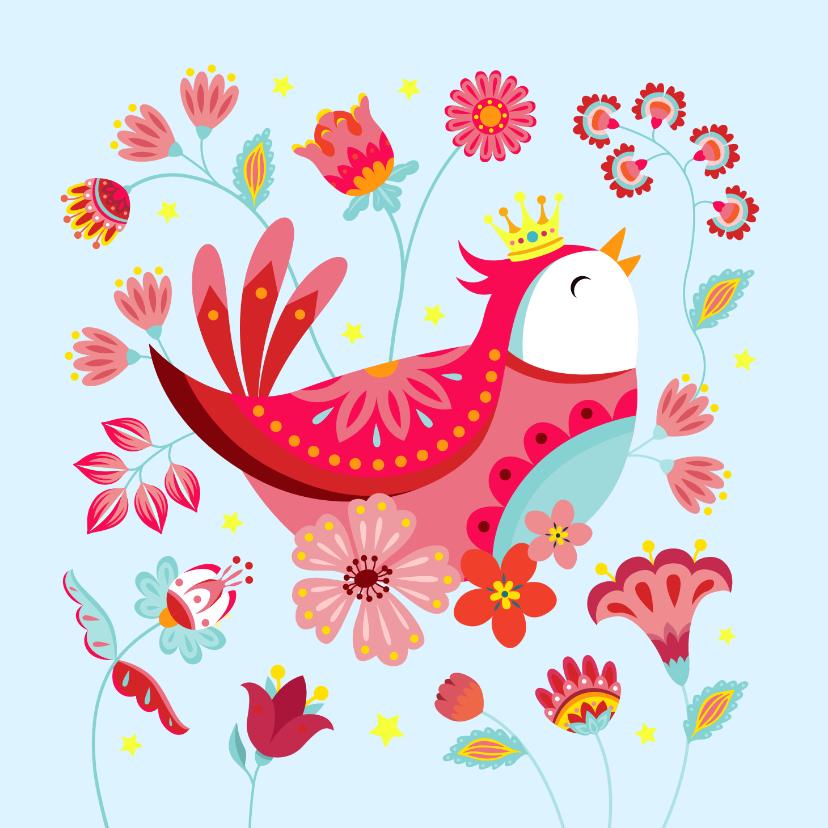 Verjaardagskaarten - Vrolijke verjaardagskaart met een vogel met kroon