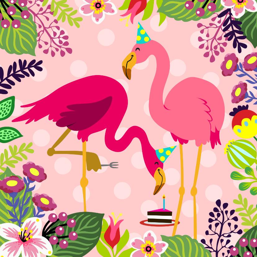 Verjaardagskaarten - Vrolijke verjaardagskaart met flamingo's en taart
