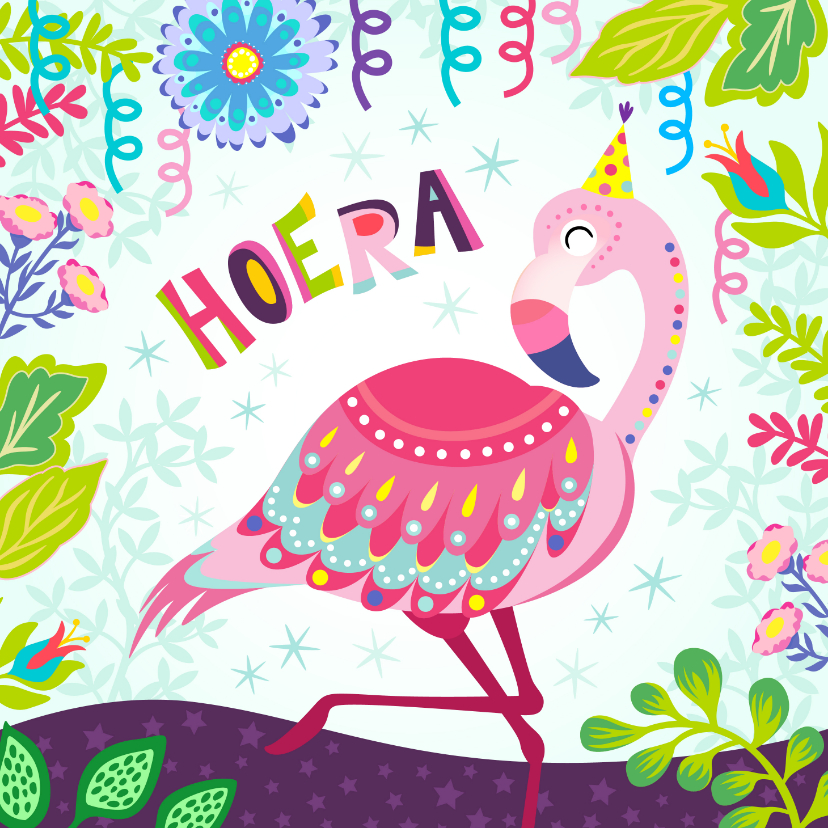 Verjaardagskaarten - Vrolijke verjaardagskaart met flamingo, slingers en bloemen