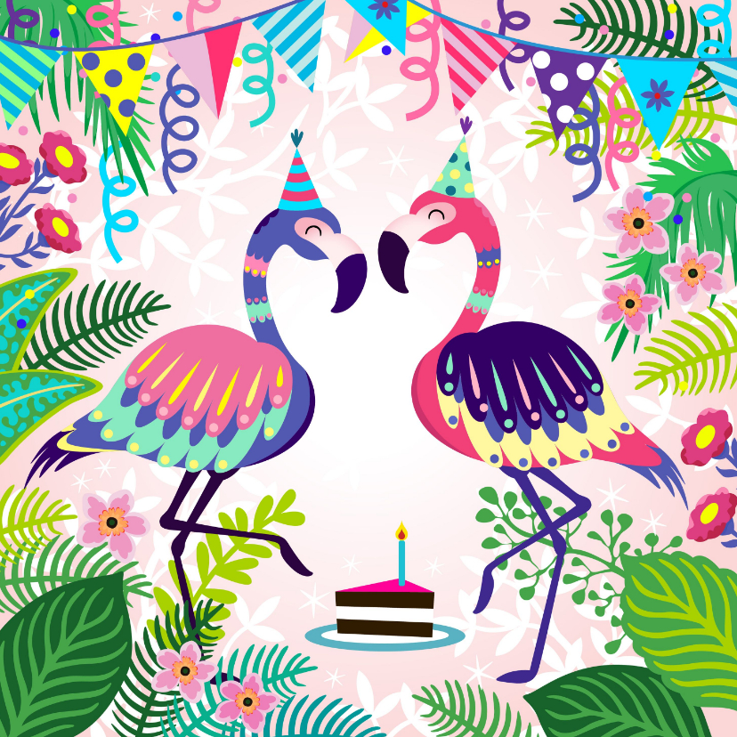 Verjaardagskaarten - Vrolijke verjaardagskaart met flamingos en planten