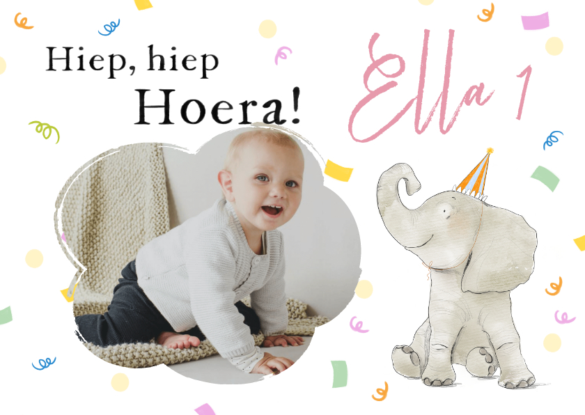 Verjaardagskaarten - Vrolijke verjaardagskaart met foto, olifant en confetti