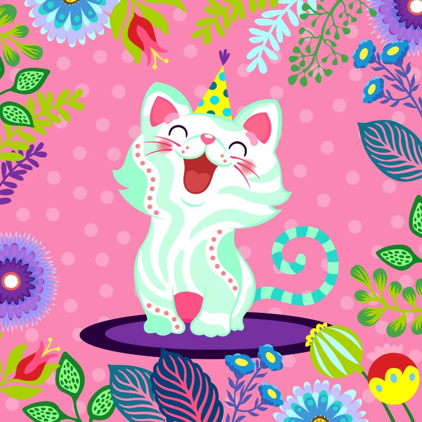 Verjaardagskaarten - Vrolijke verjaardagskaart met kat en bloemen