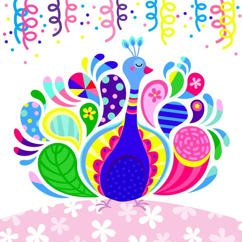Verjaardagskaarten - Vrolijke verjaardagskaart met kleurrijke pauw