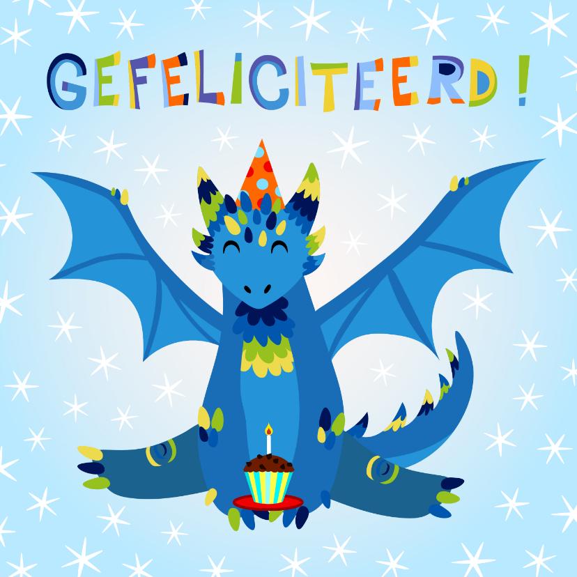 Verjaardagskaarten - Vrolijke verjaardagskaart met leuke draak en cupcake