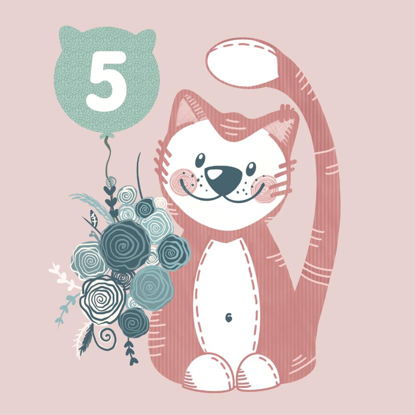 Verjaardagskaarten - Vrolijke verjaardagskaart met schattige knuffelkat