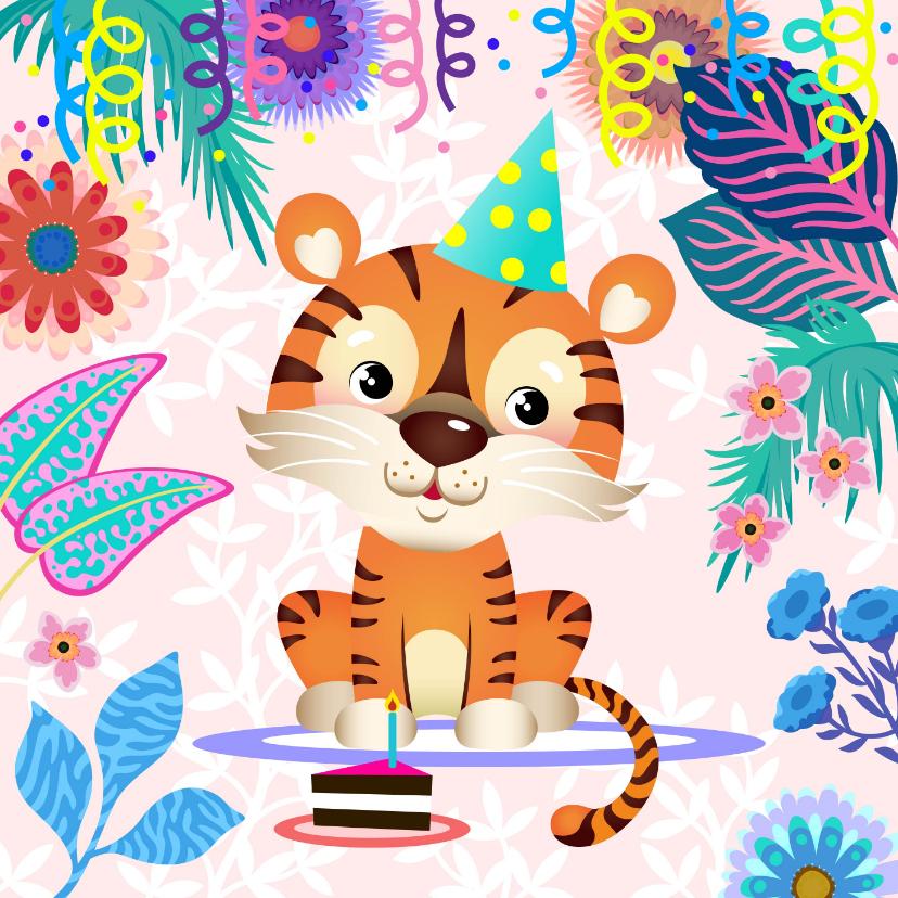 Verjaardagskaarten - Vrolijke verjaardagskaart met tijger, bloemen en taart