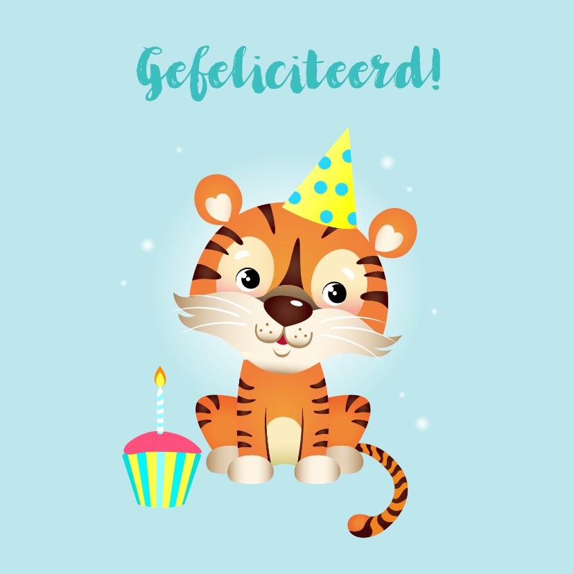 Verjaardagskaarten - Vrolijke verjaardagskaart met tijger en cupcake