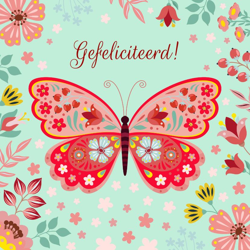 Verjaardagskaarten - Vrolijke verjaardagskaart met vlinder en bloemen