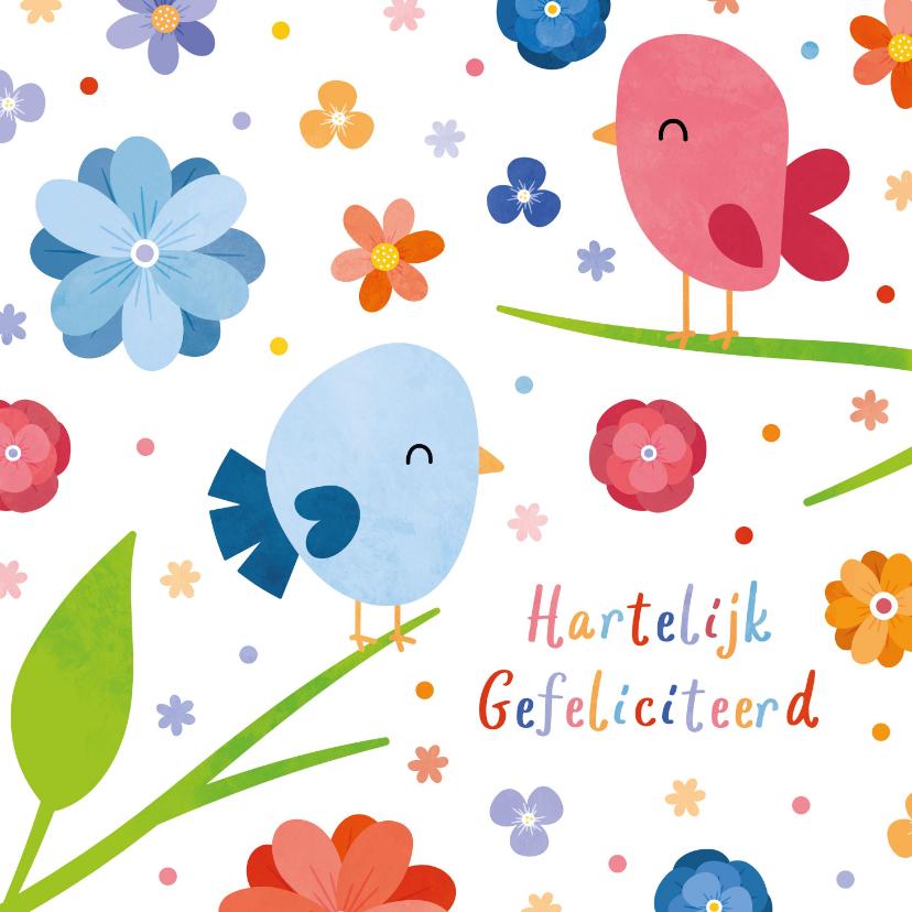 Verjaardagskaarten - Vrolijke verjaardagskaart met vogels en bloemen