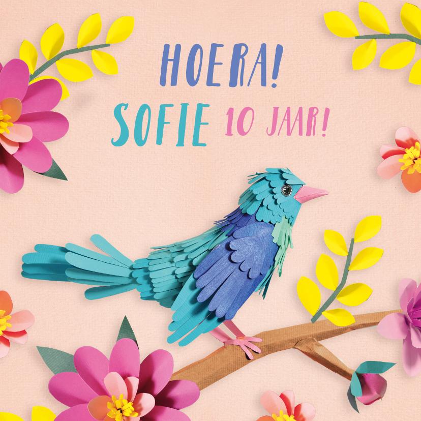 Verjaardagskaarten - Vrolijke verjaardagskaart met vogeltje