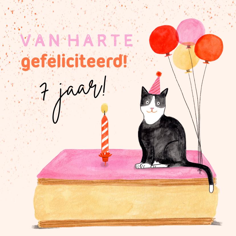 Verjaardagskaarten - Vrolijke verjaardagskaart tompouce poes ballonnen leeftijd