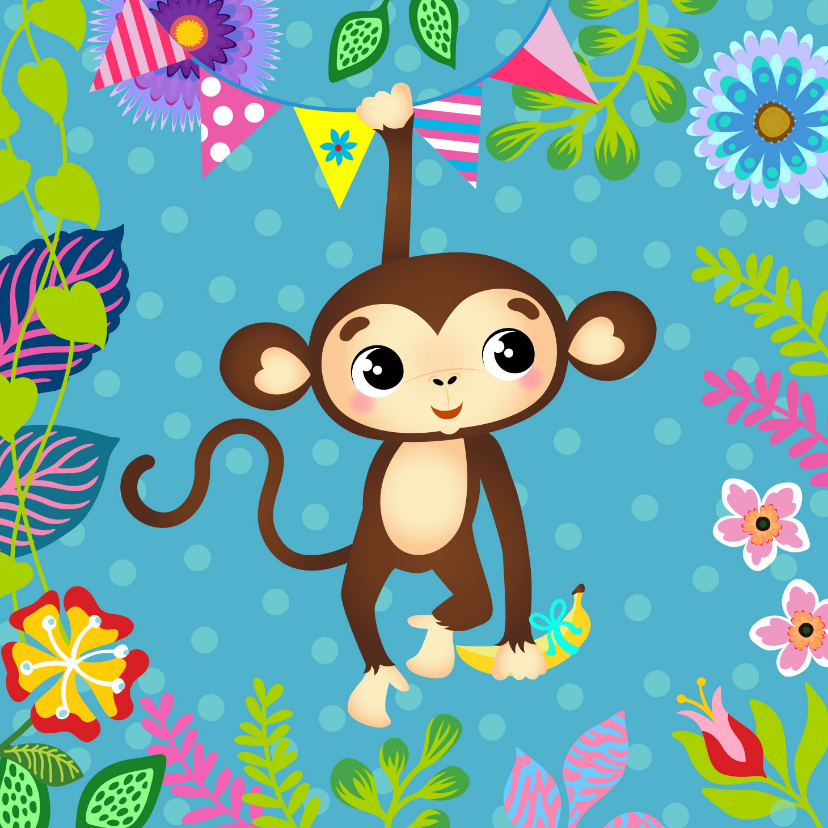 Verjaardagskaarten - Vrolijke verjaardagskaart voor een kind met lief aapje