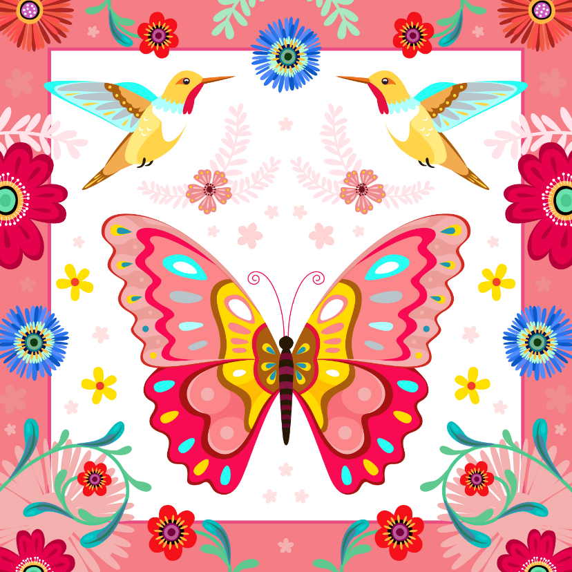 Verjaardagskaarten - Vrolijke vlinder kolibrie verjaardagskaart