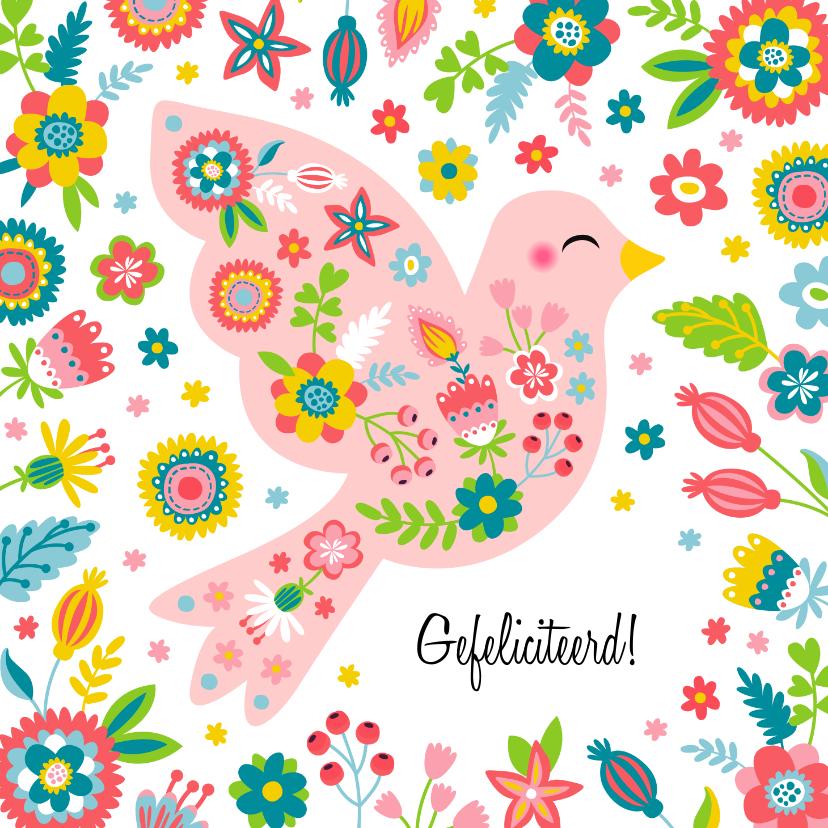 Verjaardagskaarten - Vrolijke vogel verjaardagskaart met bloemen