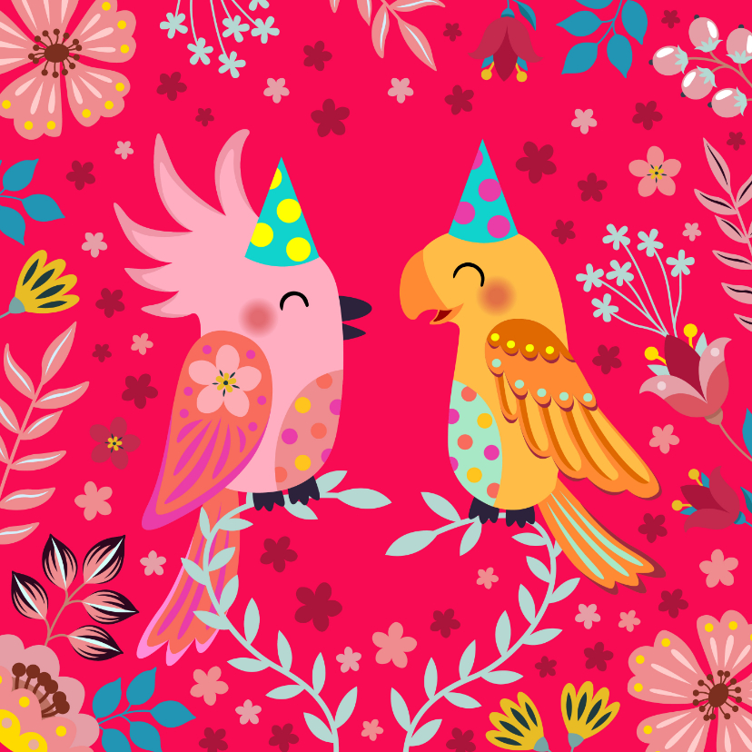 Verjaardagskaarten - Vrolijke vogels verjaardagskaart