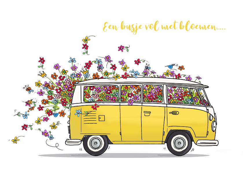 Verjaardagskaarten - VW bus geel met bloemen