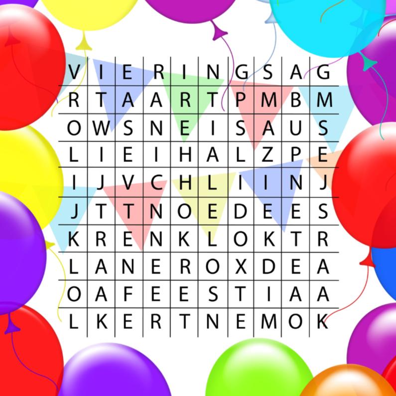 Verjaardagskaarten - woordzoeker verjaardag